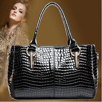 2015 New crocodile grain leather Europe ladies fashion shoulder leisure bag Handbags