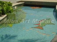 [Mius Art Mosaic]  Blue glass mosaic Swimming pool project blue glass mosaic E7038