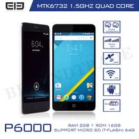 Original Elephone P6000 MTK6732 Quad Core Cellphones 2G RAM 16G ROM 5.0''IPS Screen 13MP Camera Mobile Phone1080P Android Phone