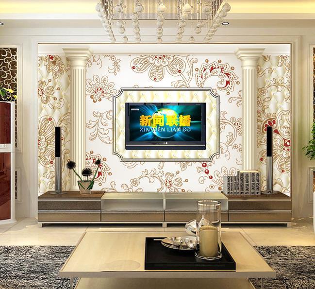 Papel de parede 3d modern marble pillar stereoscopic mural for Pillar in living room