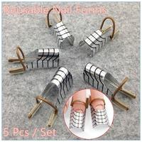 1 set (5 pcs )Reusable Dual Silver Nail Form For Nail Art Making C Curve Acrylic French Tips + Free Shipping (NR-WS34)