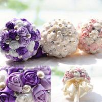 High Quality Pearl Pink Flower Wedding Decoration Crystal Cream Wedding Bridal Bouquets Purple Bouquet Holder Wedding WF005
