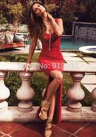 Sexy Red party dress slim dress wholesale  Split the dress