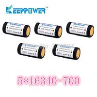 free shipping 5 pcs KeepPower 700mah protected 16340 rechargeable  battery flashlight li ion 3.7v for flashlight headlamp