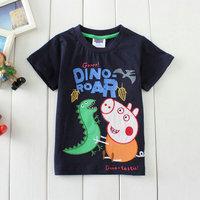 2015 New Summer Short Tops Tees Boys Peppa Pig T-shirt Baby 100% Cotton Tshirt Kids Cartoon T-shirts Children Printed Clothing