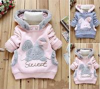 Bunny Rabbit Baby Girl Long Sleeve Pullover Hoodies Jacket Kid Pocket Outwear