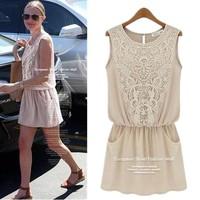 Free Shipping Summer Women's Lace Sleeveless Patchwork Dress New 2014 Chiffon Dresses Women Clothing Plus Size S-XL B-2085