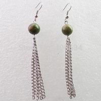Free shipping Fashion 10MM unakite jasper With Silver Long Tassel Earrings Chain (Min.order 15$ mix)