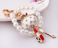 Girls love the bag full of diamond pearl accessories key creative new lipstick Keychain keychain