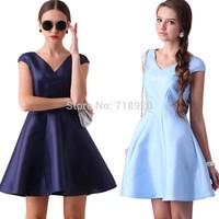 2015 Spring & Summer V-neck Sold Party Dress Blue