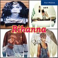 2014 Autumn Fashion Women Men unisex Punk Rihanna 3D Printed Sweatshirt pullover tops hoodies free shipping