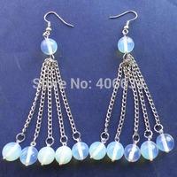 Free shipping Fashion 10MM Opal Opalite With Silver Long Tassel Earrings Chain (Min.order 15$ mix)