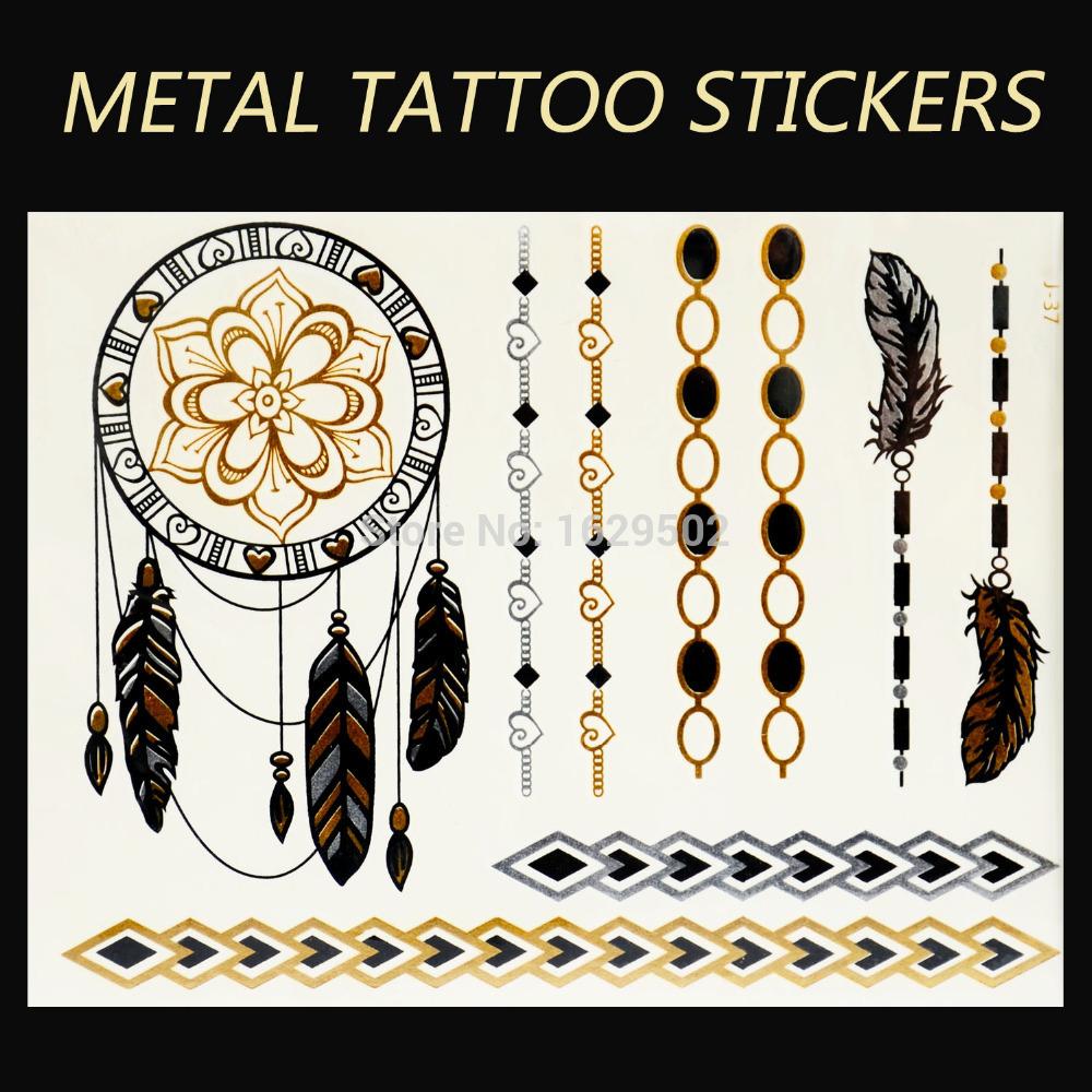 Nova chegada tribal estilo desenhos de ouro metálico flash tatoos inspirado tatuagem decalque padrão à prova d ' água adesivos / J37(China (Mainland))
