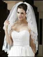 Free Shipping Two Layers White or Ivory Wedding Veil with Lace Comb