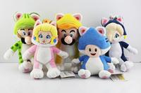 Free shipping 5pcs/lot 18-20cm Super Mario Cat Series doll Mario Luigi Toad Princess Peach Rosalina Stuffed Plush Toy With Tag