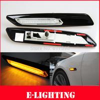 Gloss Black Type+Clear Len F10 Style LED Fender Side Marker Turn Signal Light for BMWE60 E61 F10 E81 E82 E87 E88 E90 E91 E92 E93