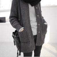 Korea Womens Handmade Knitting Loose Thickening Black Sweater Outerwear Cardigan Female Winter Clothing Medium Long Grey 1412255