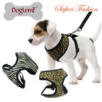 Dog Harness Vest With Dog Leash Tweed Pet Chest Straps Leads Leopard / Zebra-stripe 5 Size XS S M L XL