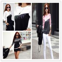 2014 Autumn Sexy Women Ladies Long Sleeve Fashion Lace Cotton T-Shirt Tee Tops 3 Color M L XL