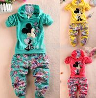 retail  children/kids  baby girl cartoon top tops hoodies hoodie + flowers pants 2  pieces girls suits sets