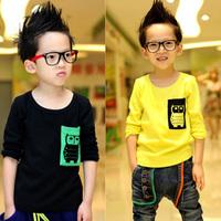 Korean Baby Kids Boy Girl Long Sleeve T-shirt Tops Cute Owl Pattern Casual Shirt  Free Shipping