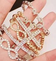 Fashion Jewelry Hot Women's Crystal Rhinestone Cross Love Infinity Stretch Beaded Charm bracelets & bangles Gift SALE