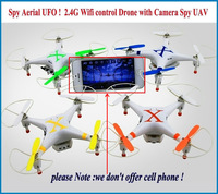 Newest  Spy Aerial UFO  !  2.4G with 3D flip Wifi control Quadcopter Drone with Camera with LED Light Spy UAV