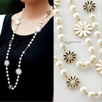 Pearl daisies long chain necklace cute woman all-match sweater pendant accessories