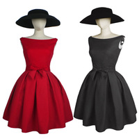 2015 Spring New Women Vintage Sleeveless Wedding Bridesmaid Dresses Prom Party Tutu with Petticoat Slim Waist with Bow Red Black