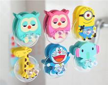 J.G Chen Free Shipping Cute Cartoon Sucker Toothbrush Holder, Suction Hooks Minion, Doraemon, Animal Shape Bathroom Accessories(China (Mainland))