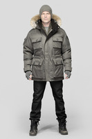 Barry mens parka down coats thick genuine winter outwear,coyote fur collar crosshatch down coats Jackets free shipping
