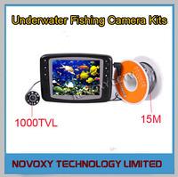 "Free shipping 1000TVL 3.5"" LCD Monitor LED Light Underwater  Fishing  Camera Kit 15M Cable"