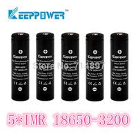 free shipping 5 pcs KeepPower IMR 3200mah protected 18650 rechargeable  battery flashlight li ion 3.7v for flashlight headlamp