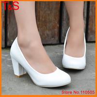 Plus size 40 41 42 43 Female Round Toe Plain High Heels Classics Ladies Spike Heel Pumps Spring Autumn White Dress Shoes BBB-0B