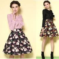 New spring 2015 conjunto feminino de saia e blusa women's expensive round neck bow printing black pink women 2 piece skirt sets