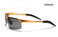 1pcs Men's Outdoor sports windproof goggles Magnesium alloy frame Polarized sunglasses Golden frame Grey Lens  Great Quality
