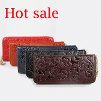 China flower pattern Vintage genuine leather Women Wallets carteira feminina High Quality Versatility Purse Women wallet free