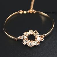 HEB074 Wholesale 14K Rose Gold Plated Zirconia Bracelets for women Fashion Jewelry pulseras Mujer Designer