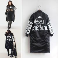 2014 winter HARAJUKU jacket Coat parka women letter print skull design cardigan wadded down jacket outerwear female for woman