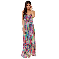 LZ Fashion multicolor abstract the showiest of digital print spaghetti strap chiffon one-piece dress haoduoyi XS S M L XL XXL