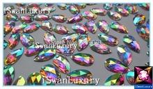 Дешевые 11 x 18 мм сияющий мода кристалл AB цвет широкий бусины стразами пришить для шитья 20х30мм капель стразами рукоделие