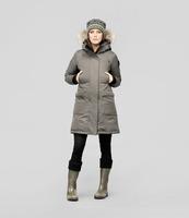 Women's MERIDETH Ladies Parka 100% Down Jacket Puffer Down&Parkas Coyote Wolf Fur Ruff Wool Shell Beautiful Warm Russia