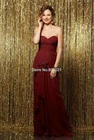 Discount Opulent A-line Sweetheart Floor Length Chiffon Pleating Princess Bridesmaid Dress 2015