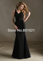 Fancy New Style V Neck Floor Length Lace Trumpet Mermaid Black Belt Bridesmaid Dress 2015
