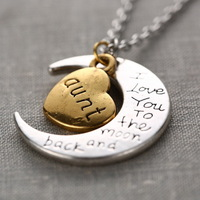 """1Pcs statement necklace For Aunt Family Gifts Vintage Letters Moon Pendants Necklace """" I Love You To The Moon And Back """""""