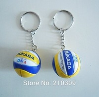 Fashion Top beach volleyball PVC 3.7 cm keychain key ring business gifts 40pcs/lot