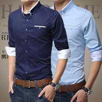 M-5XL 2014 New Mens Dress Shirts Top Quality Long Sleeve Shirt Men Slim Fit Brand Design Formal Casual Male Shirt Plus Size