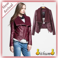2015 Winter Jacket Women Leather Jacket Coat Female Fashion Knitted Collar Pu Leather Coat Outerwear jaqueta de couro feminina