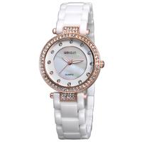 2015 New Listed WEIQIN Luxury  Brand Women Dress Rhinestone Decoration Bracelet Watches Elegant Women Ceramic Quartz Watch W3212