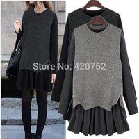 Plus Big Size XL-5XL Top Fashion Womens Loose Slim 2 Pieces Knit Casual Mini Long Sleeve Dress 2015 New Brand